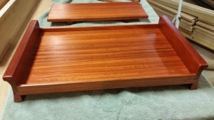 Serving tray; padauk and quarter sawn bloodwood. Sliding dovetail.