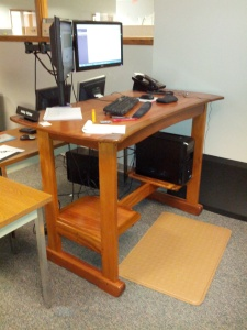 Standing desk in use