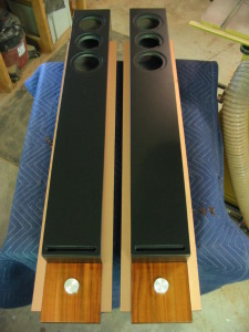 Black lacquer, Koa, Copper laminate proto-type loudspeakers