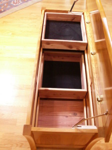 Blanket Chest-Interior-aromatic cedar tongue & groove bottom and Boxes