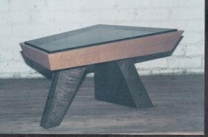 End tables-bronze, birds-eye maple, granite.